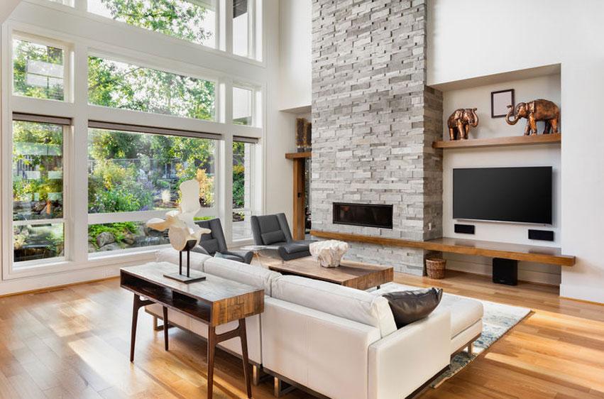 Precioso salón con ventanas hechas en PVC